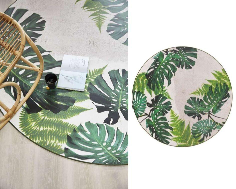 Een tropisch vloerkleed van groene bladeren